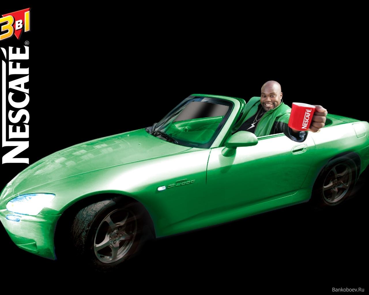 зеленая спортивная машина, скачать фото, обои для рабочего стола, красная кружка Nescafe