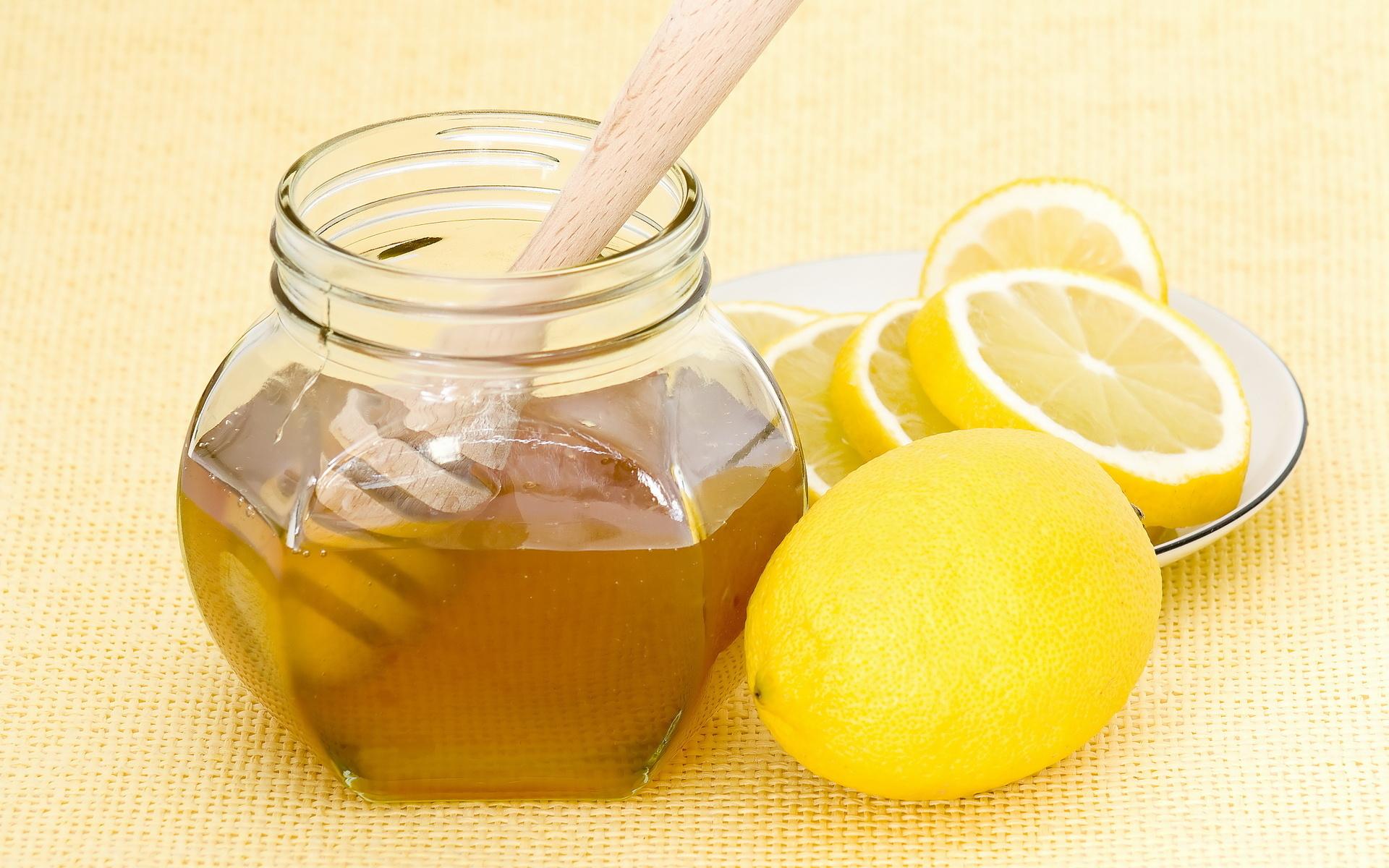 банка с медом, мед с лимоном, скачать фото, обои на рабочий стол