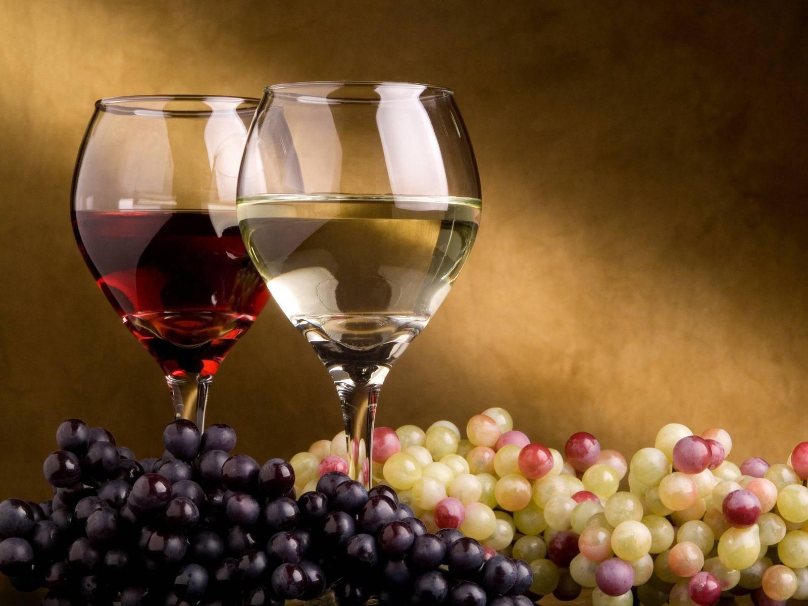 красное и белое вино и виноград, скачать фото, обои для рабочего стола