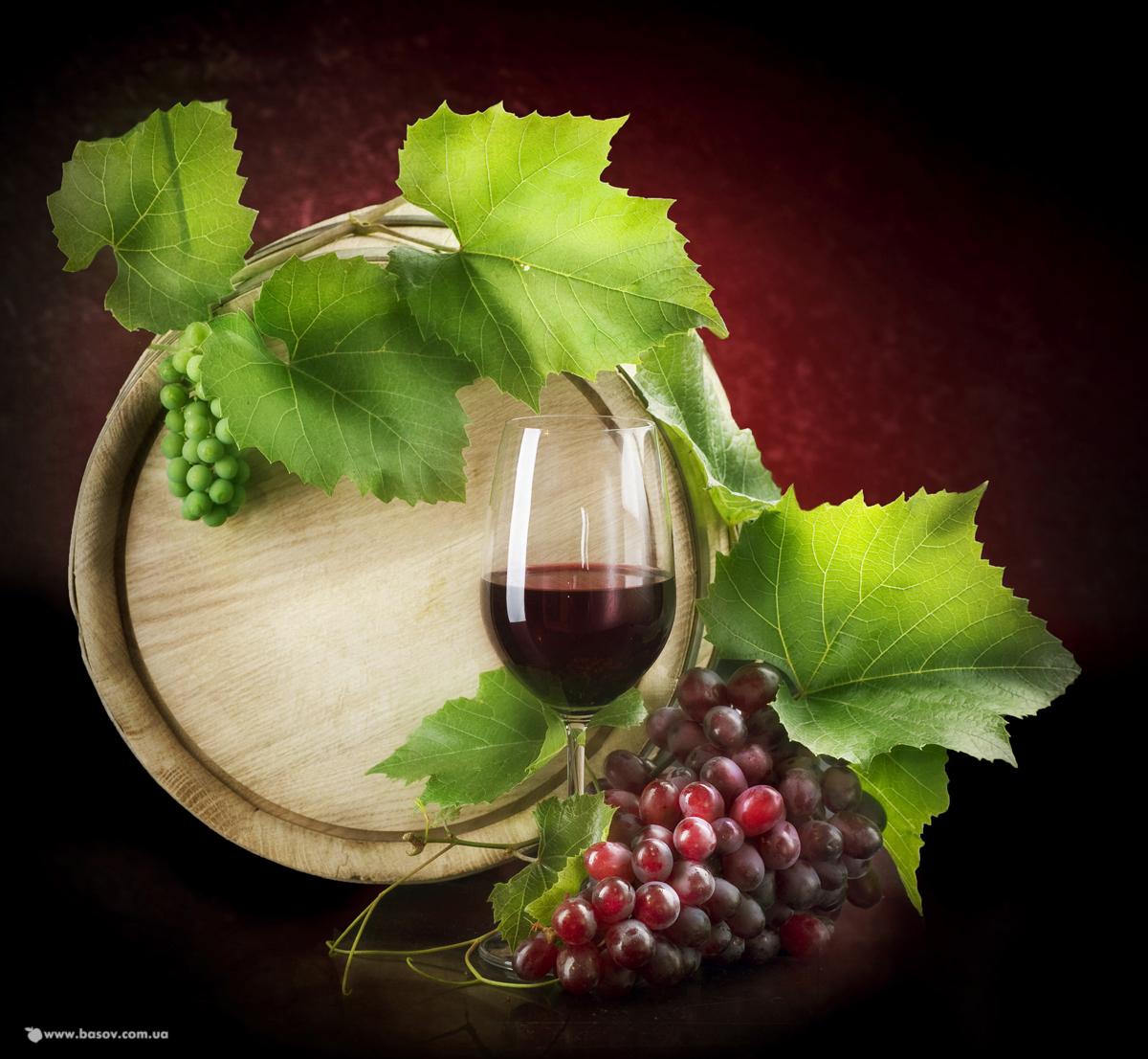 виноград, вино, бочка с вином, скачать фото, обои для рабочего стола