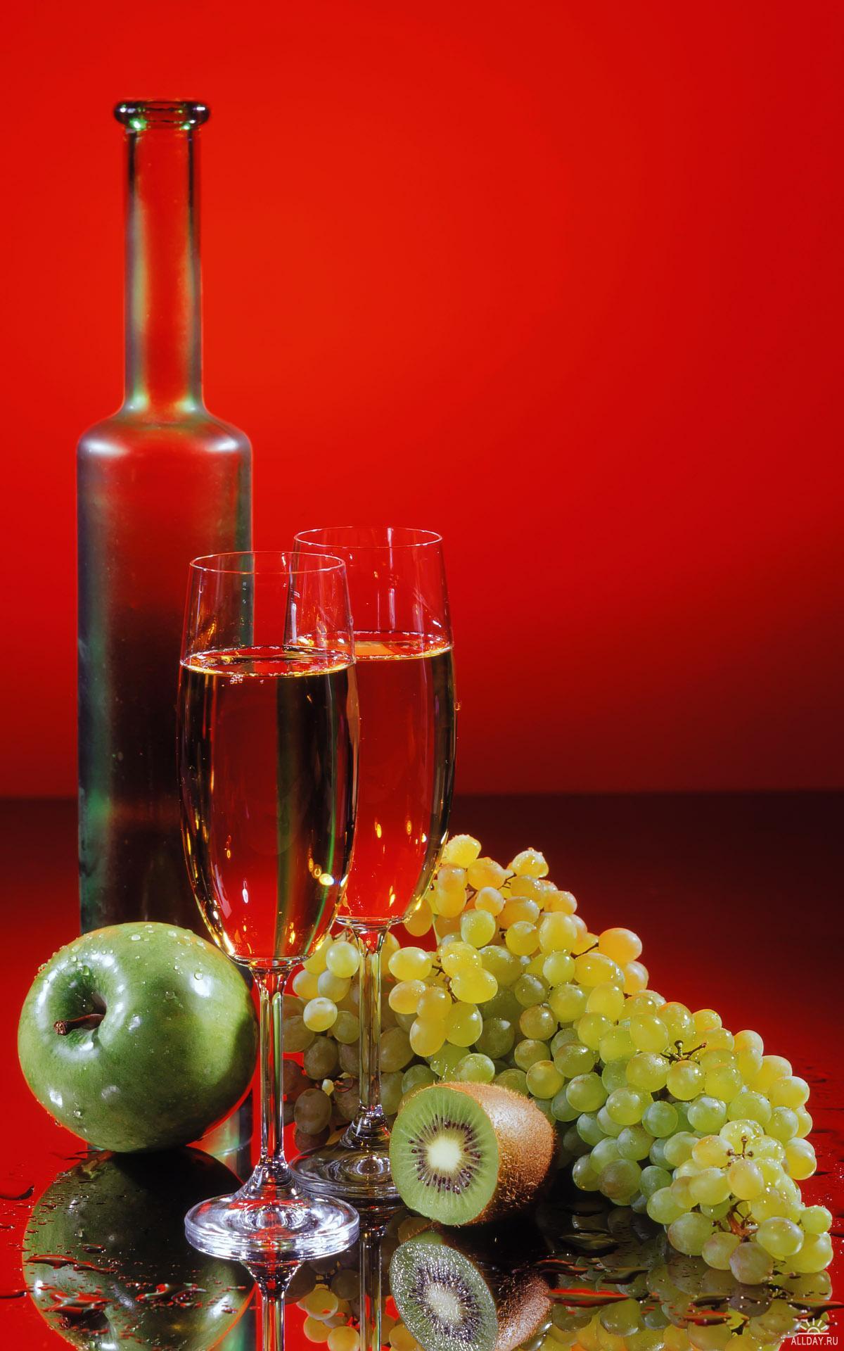 натюрморт, вино, виноград, бутылка вина, скачать фото