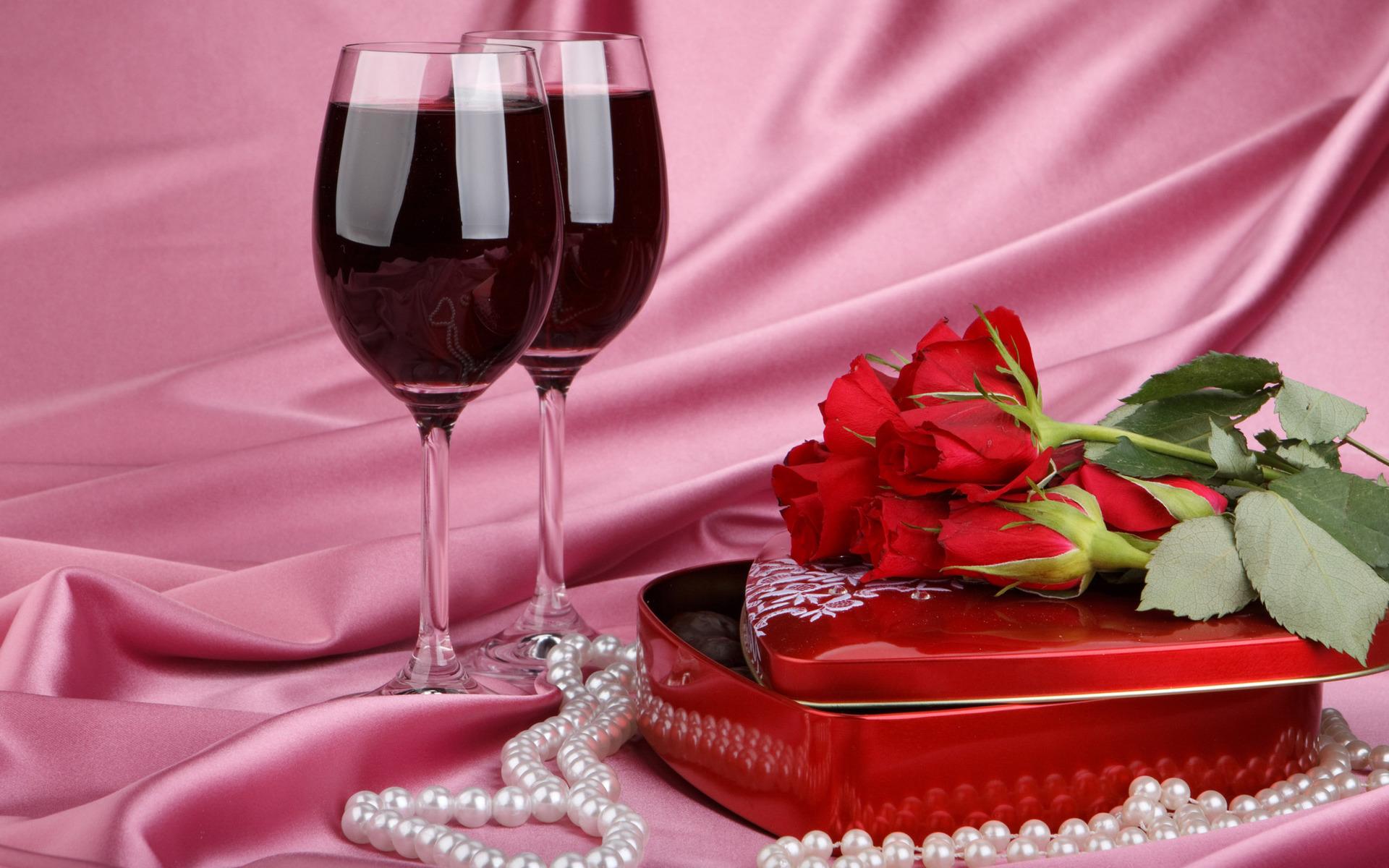 красное вино и розы, скачать фото, обои для рабочего стола