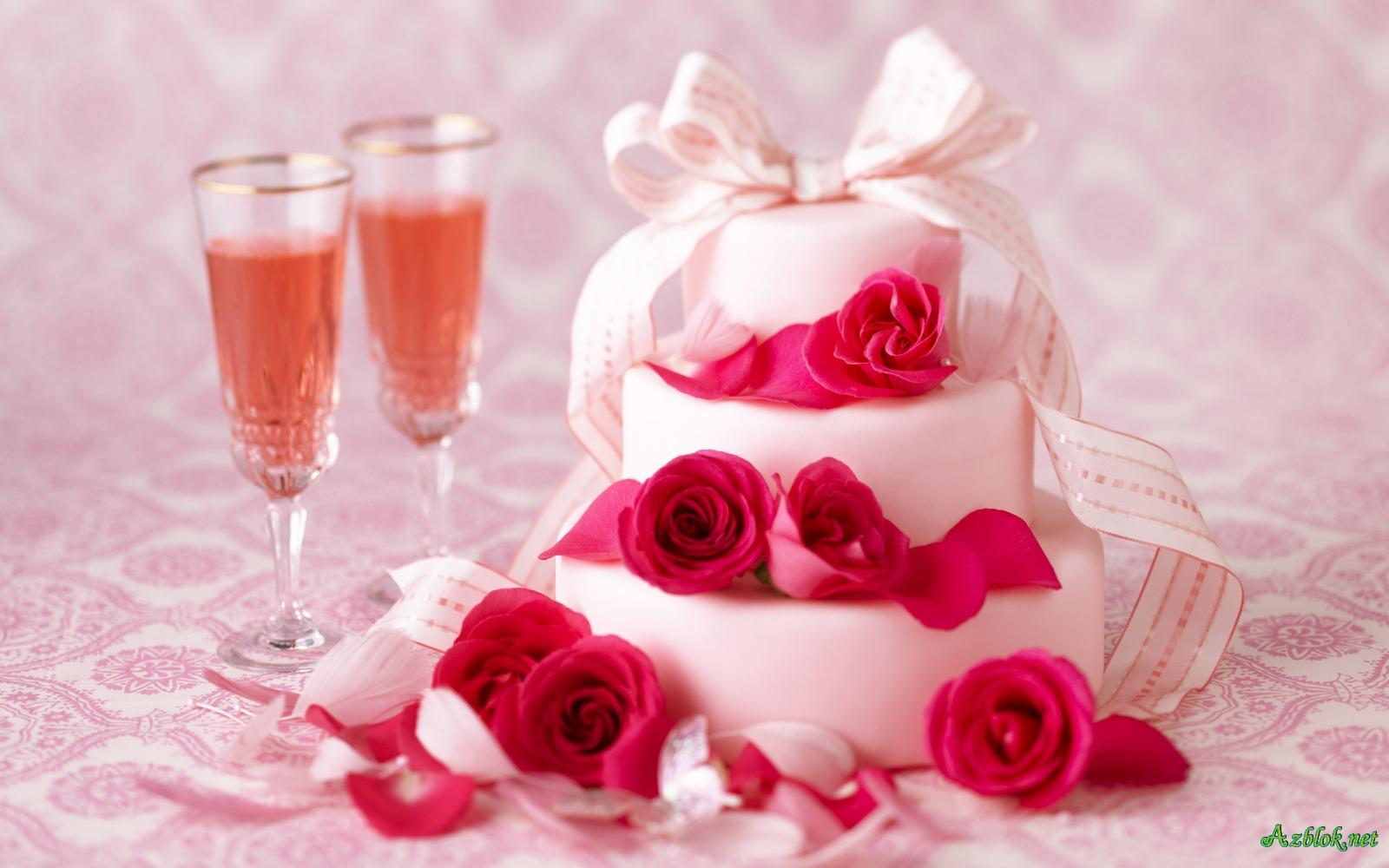 торт с розами и шампанским, скачать фото, обои для рабочего стола