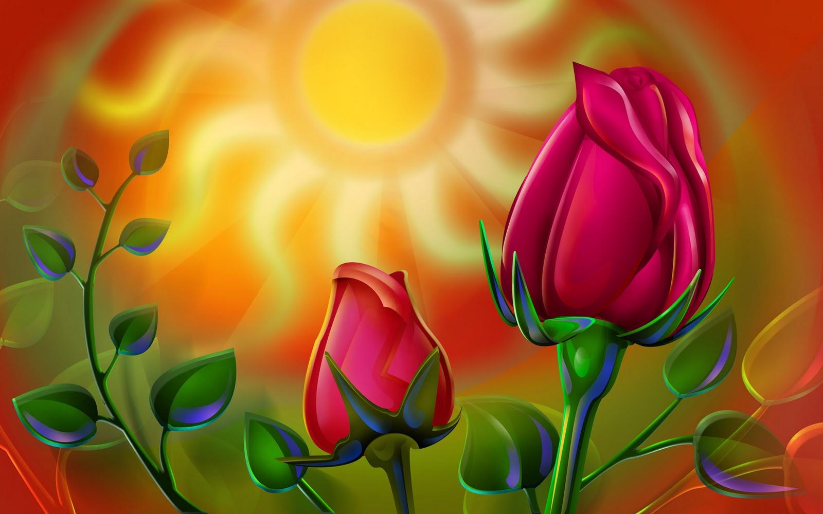 рисунок, красные розы на фоне солнца, скачать фото