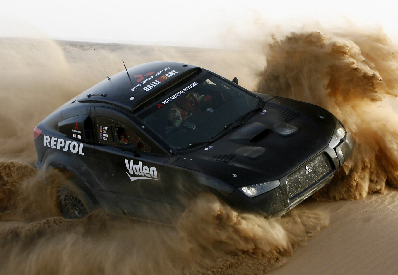 Dakar, car rally, black MITSUBISHI, скачать фото, Дакар, авто
