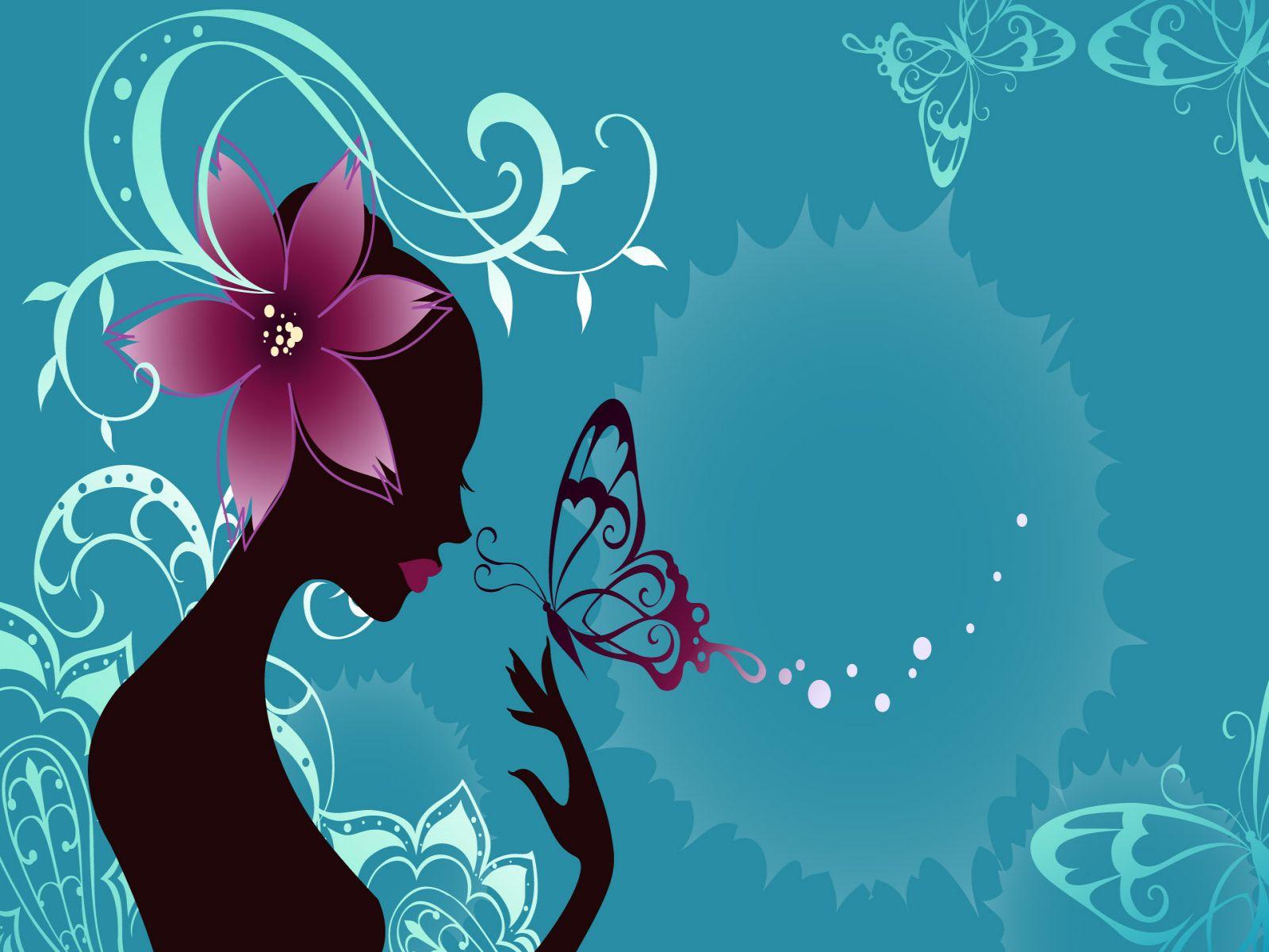девушка дерит в руке бабочку, скачать обои для рабочего стола
