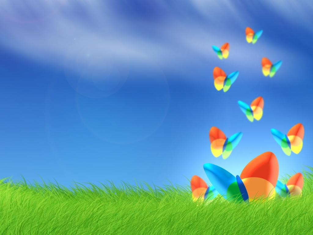 Windows butterfly wallpaper, скачать фото, обои для рабочего стола, зеленая трава, синее небо