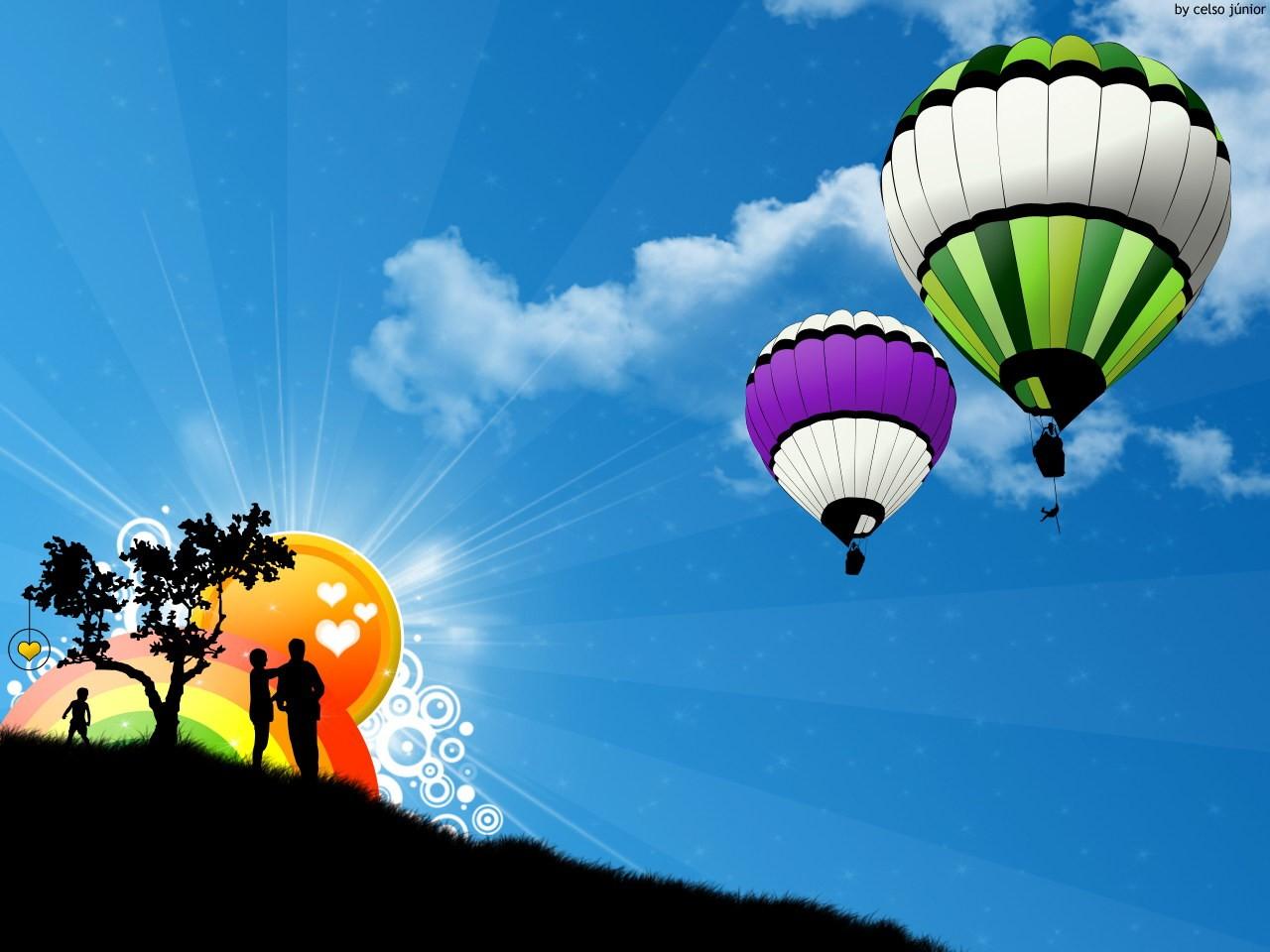 воздушные шары, скачать фото, обои для рабочего стола, небо, радуга