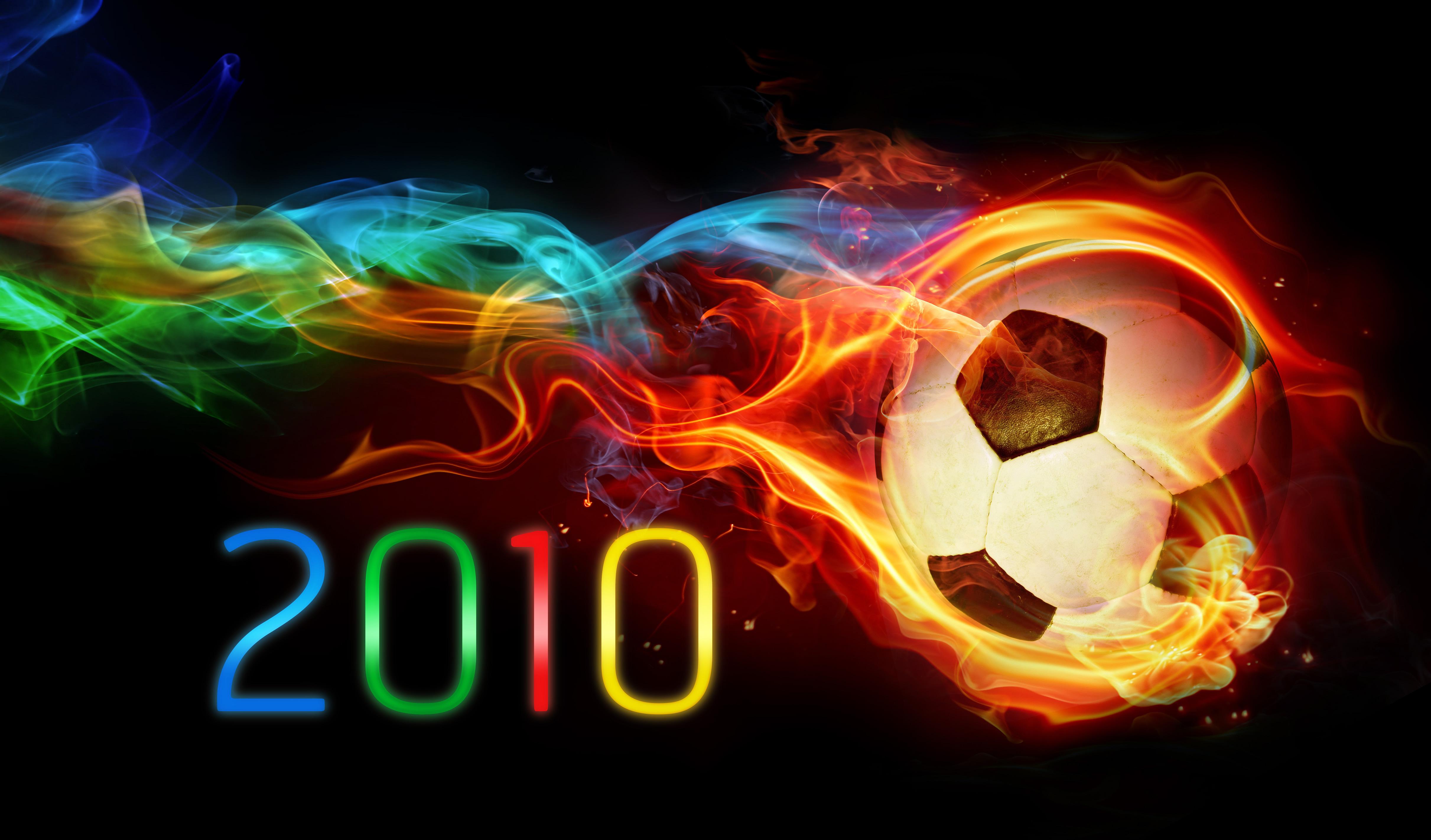 мяч, огонь, футбол, 2010, радуга, скачать фото