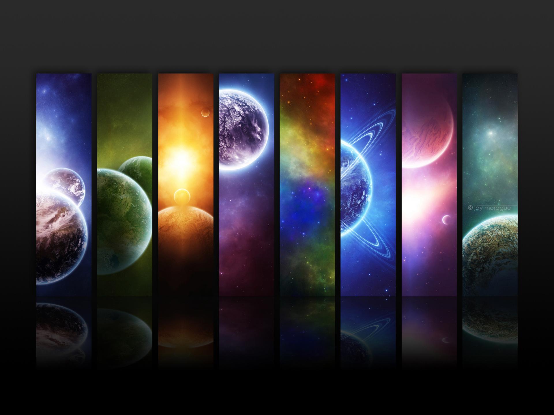 планеты, свет, радуга, скачать фото