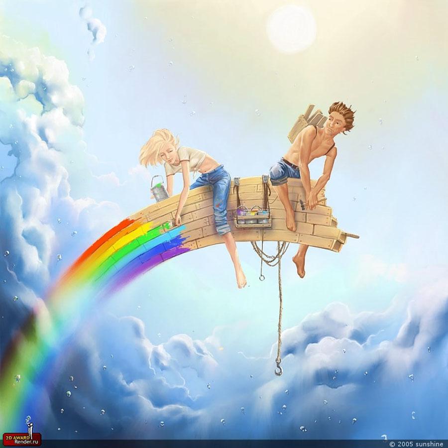 парень и девушка делают, рисуют радугу, скачать фото, обои для рабочего стола