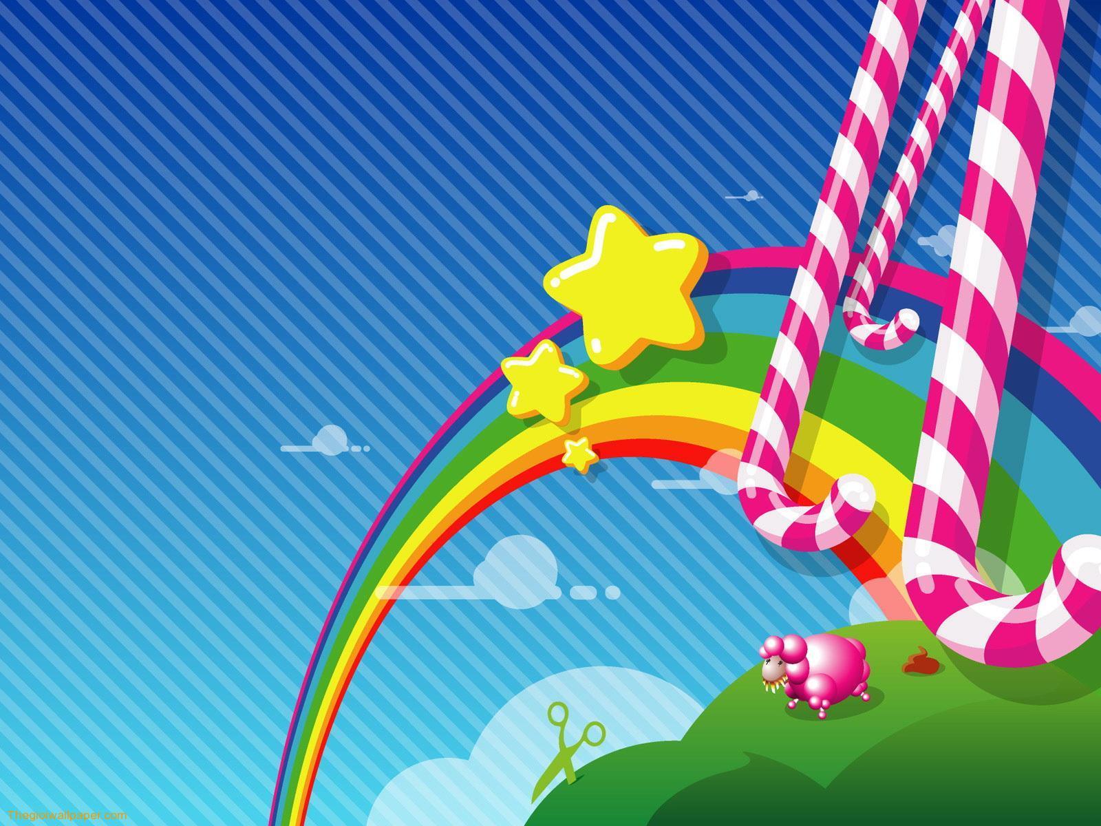 конфеты, карамель, звездочки, небо, скачать фото, обои для рабочего стола, радуга