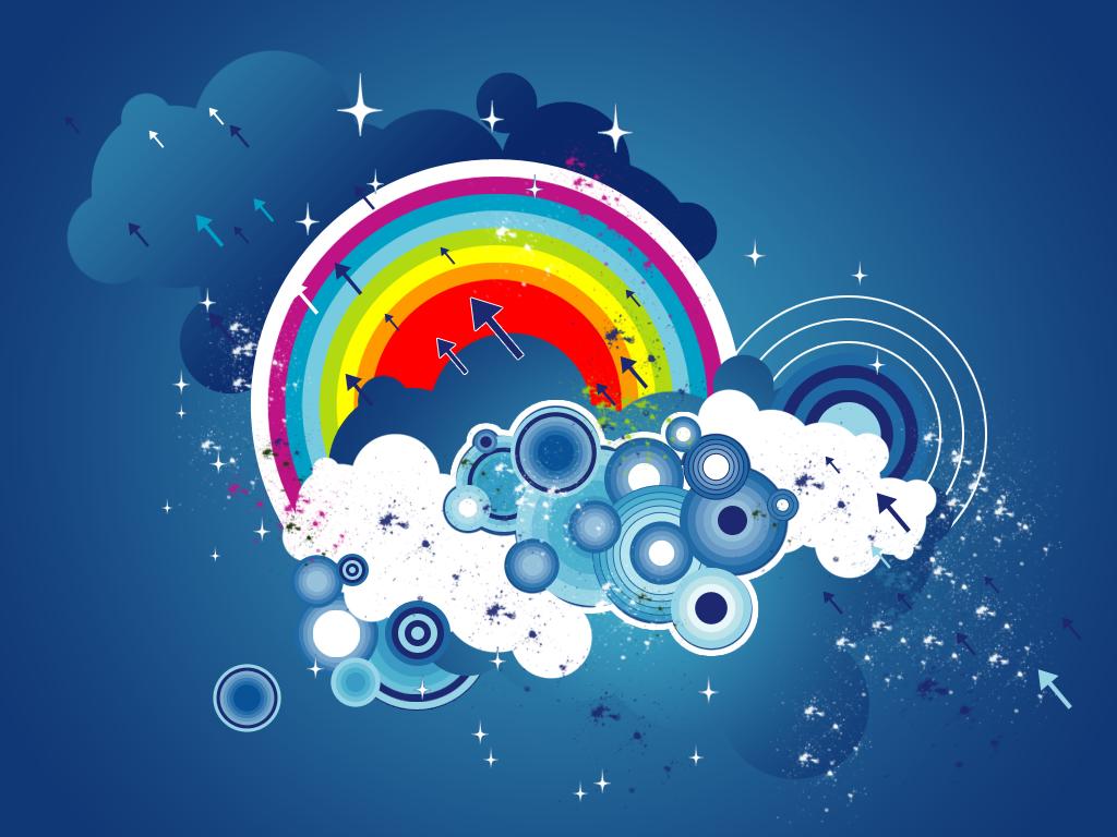 небо, облака, радуга, скачать обои на рабочий стол