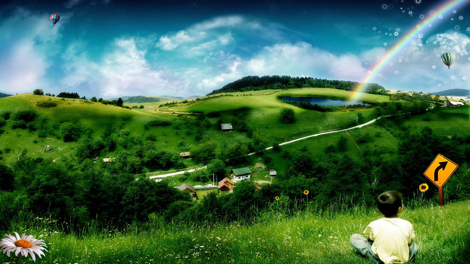 трава, природа, неббо, воздушный шар, радуга, мальчик сидит, скачать фото, обои для рабочего стола