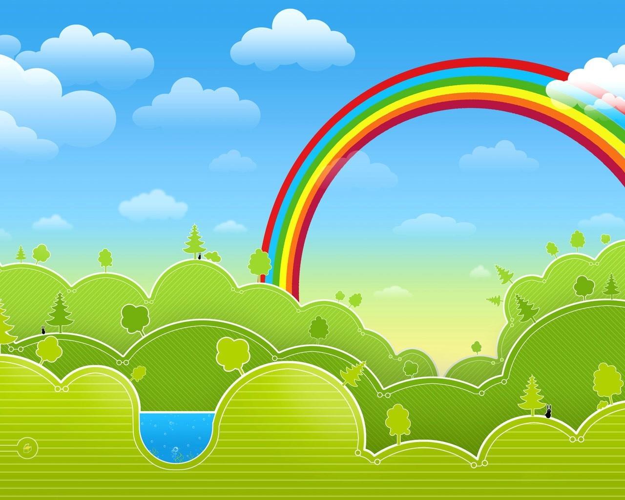 зеленые деревья, синее небо, радуга. скачать фото