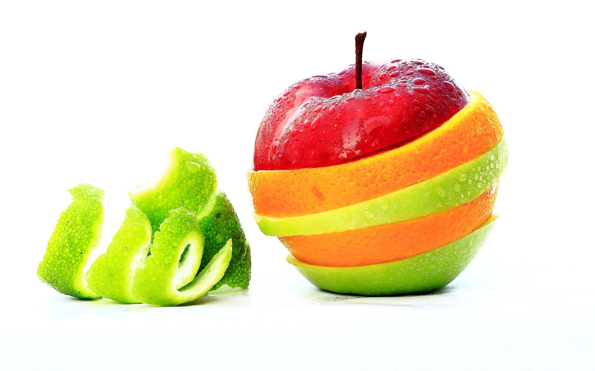 яблоко, апльсин, лайм, радуга из фруктов, фото, обои на рабочий стол