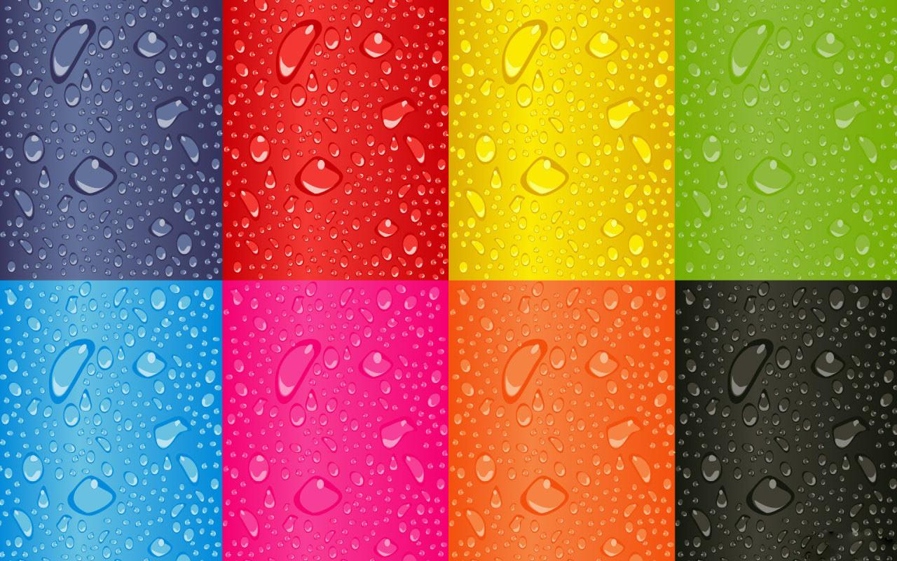 капли воды на радужных пластинках, радуга, скачать обои для рабочего стола