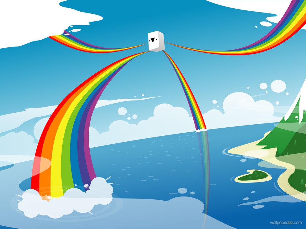 много радуг из разных мест, вода, море, небо, скачать фото