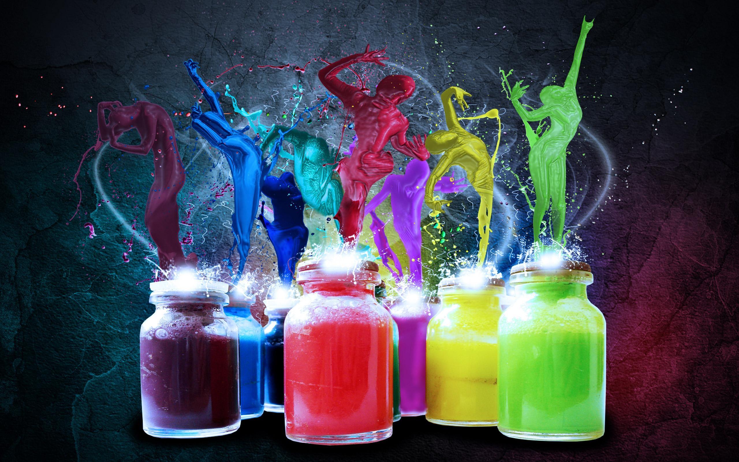 разноцветные краски. скачать фото, радуга, духи, обои для рабочего стола