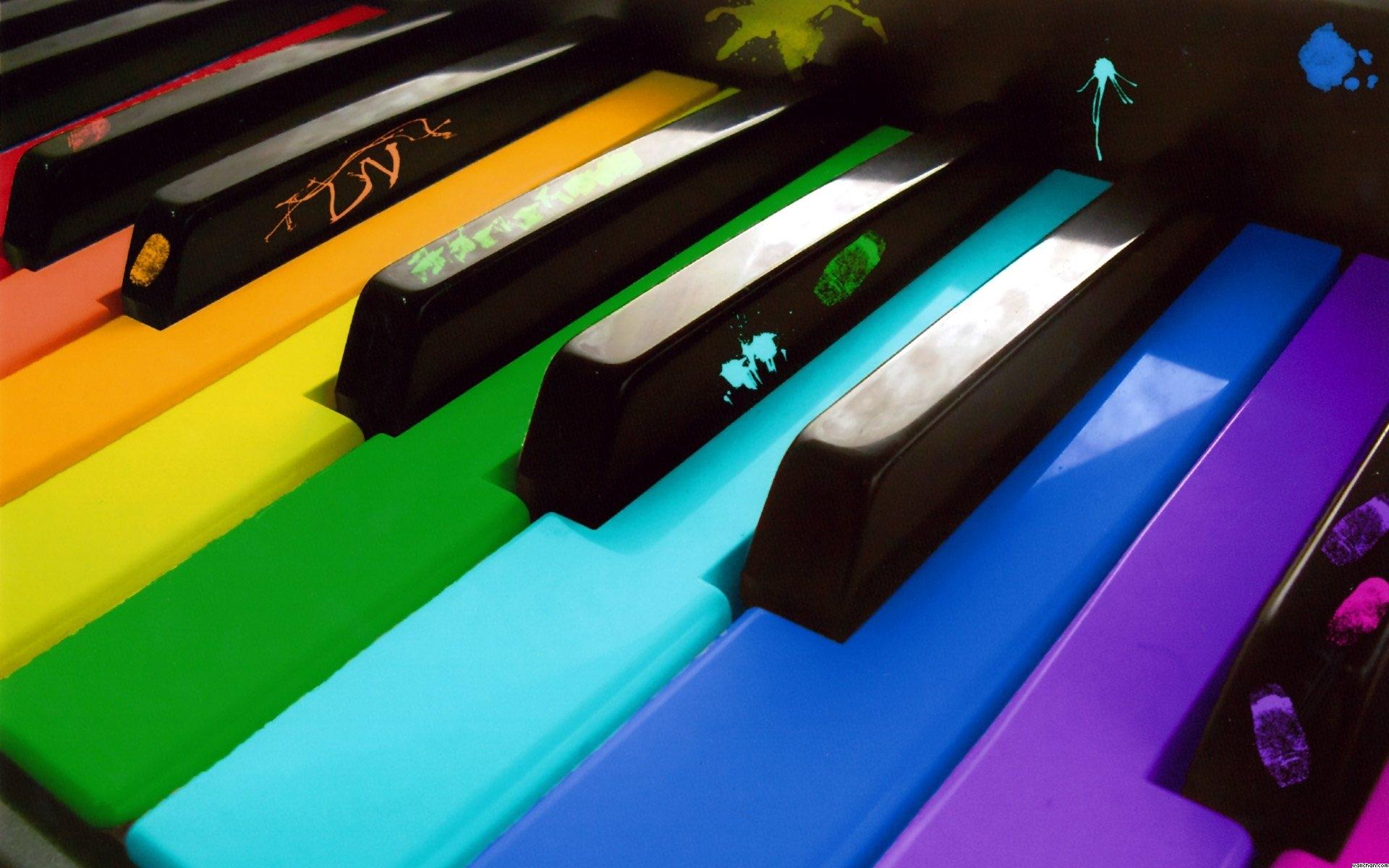 пианино, клавиши, радуга, краска, скачать фото, обои для рабочего стола