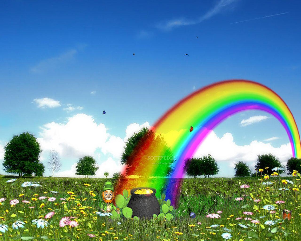 поляна с цветами, радуга, небо, скачать фото