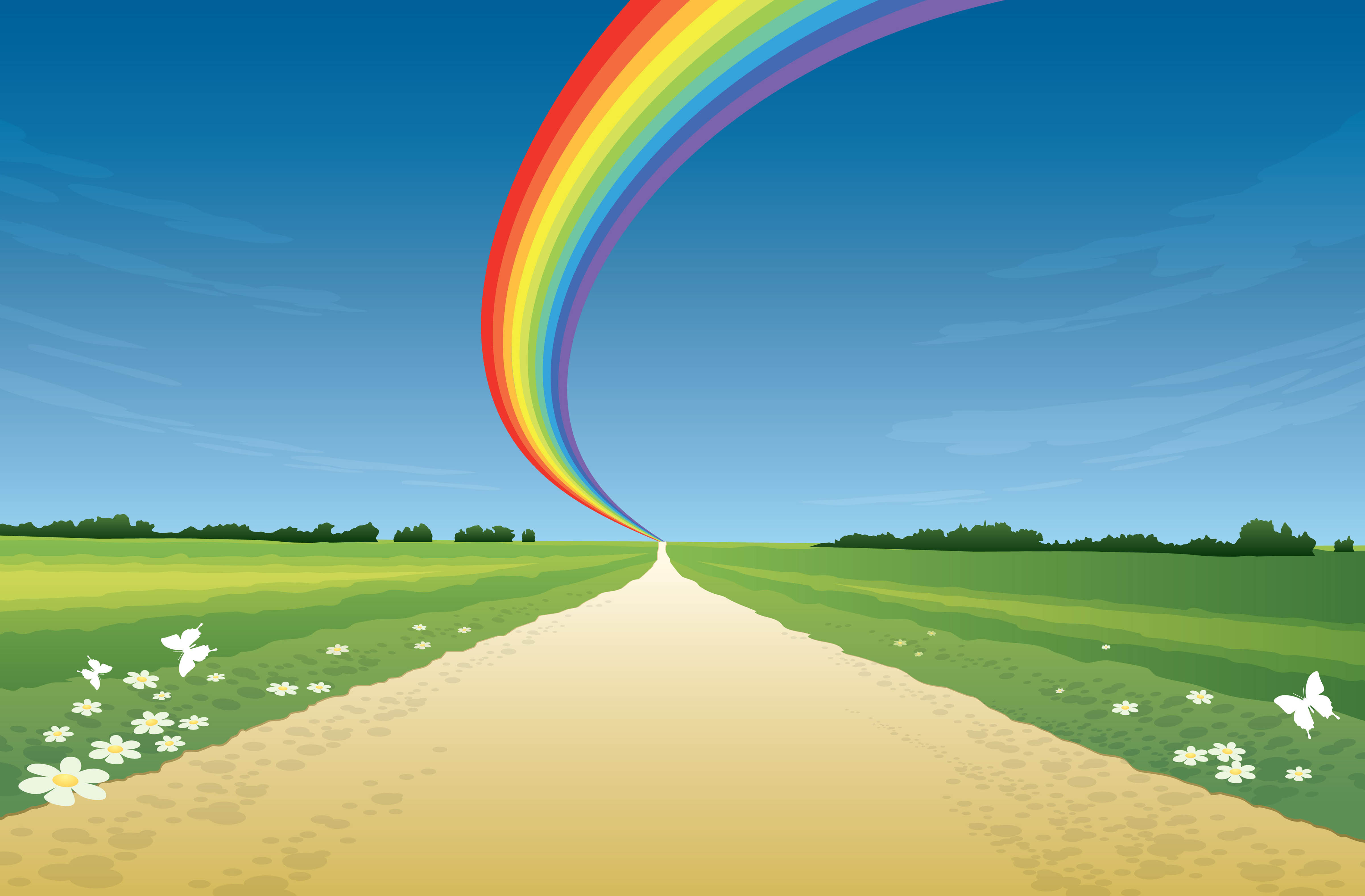 дорога, зеленая трава, радуга, синее небо, скачать фото