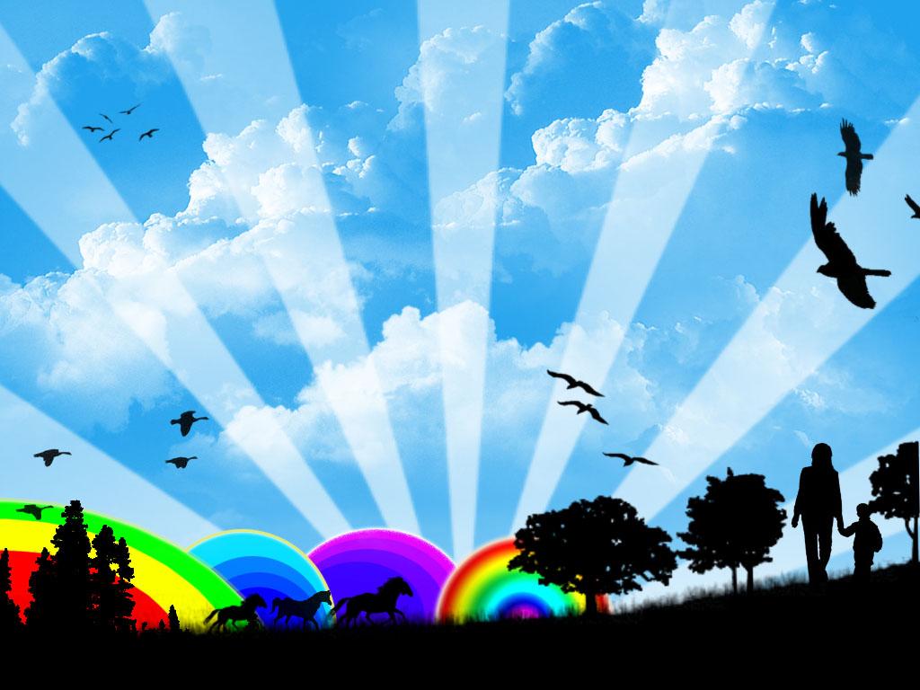 синее небо с облаками, скачать фото, радуга, обои для рабочего стола