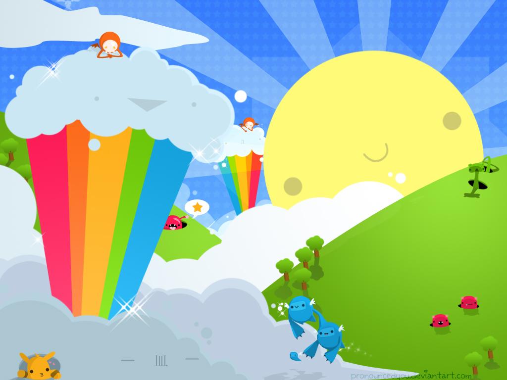 мороженное, радуга, солнце, скачать рисунок
