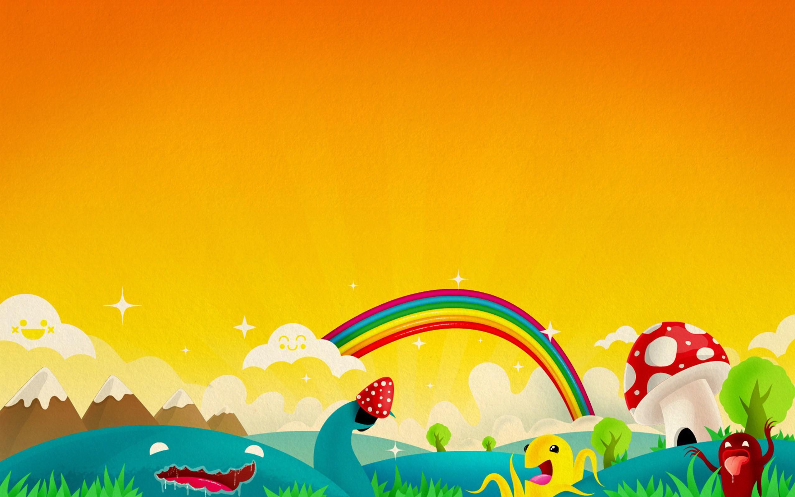 радуга, закат, оранжевое небо, рисунок, скачать