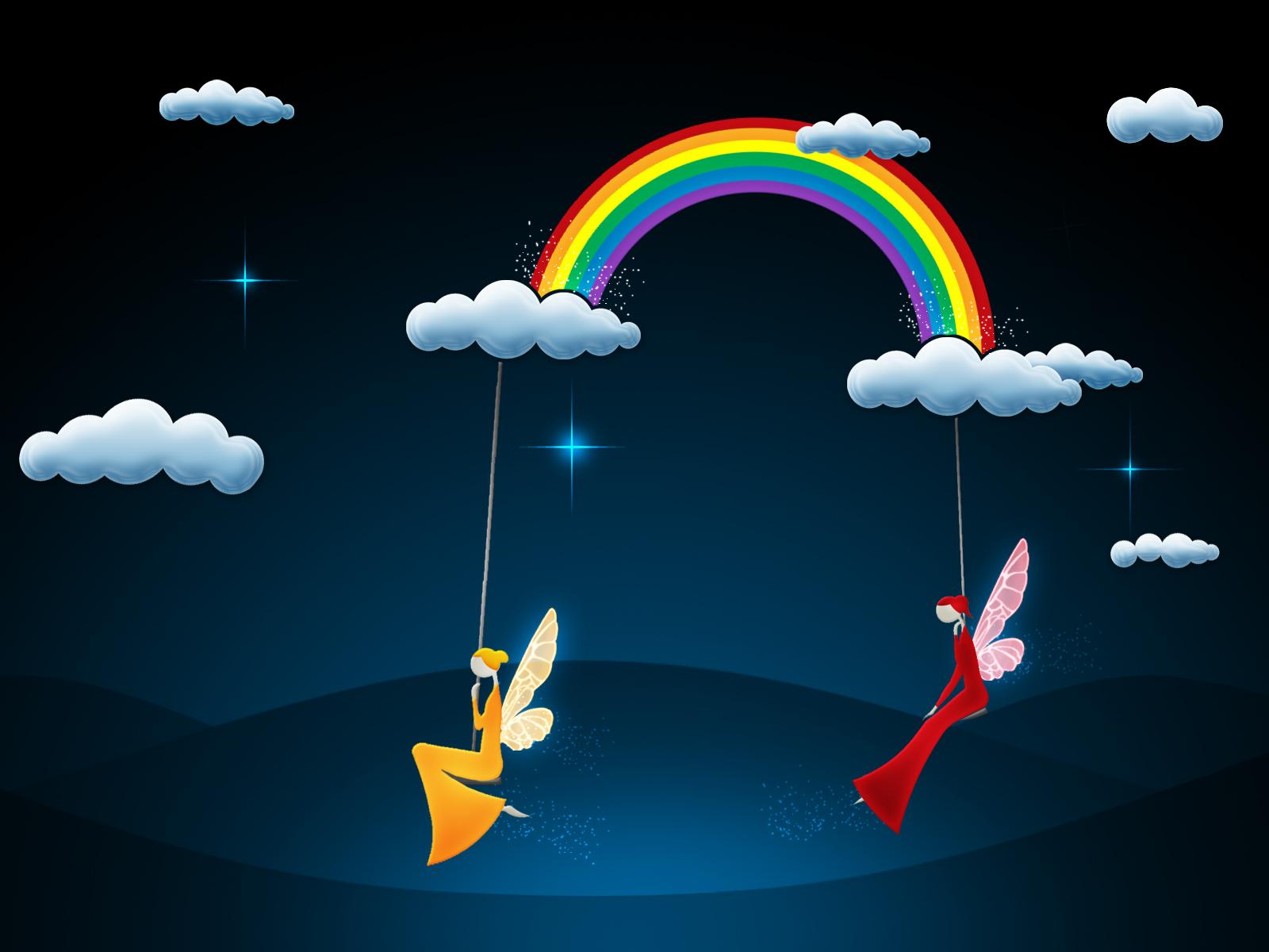 ночное небо, облака, две феи, радуга, скачать обои на рабочий стол