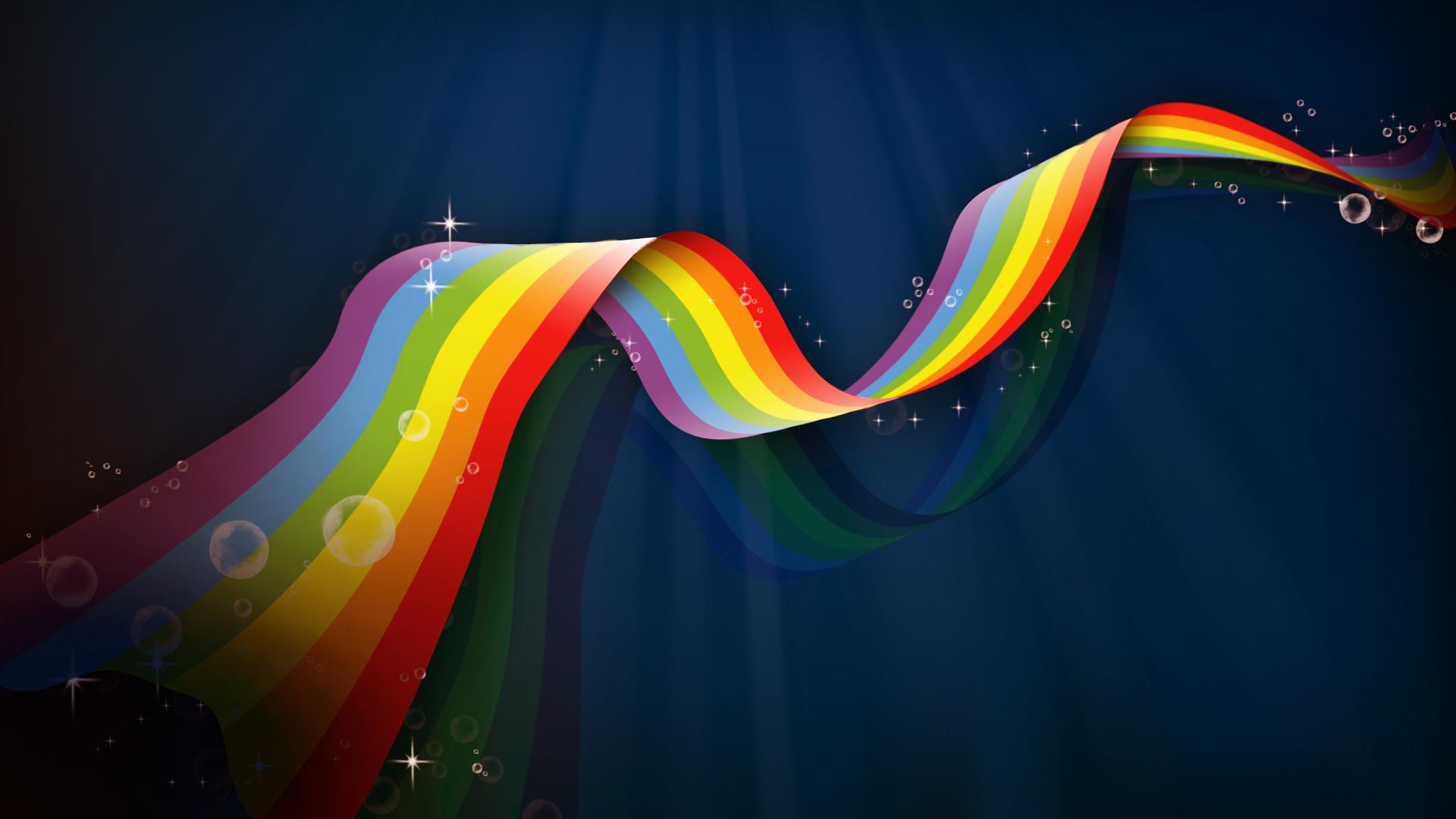 радужая полоска, радуга на темном фон, обои для рабочего стола