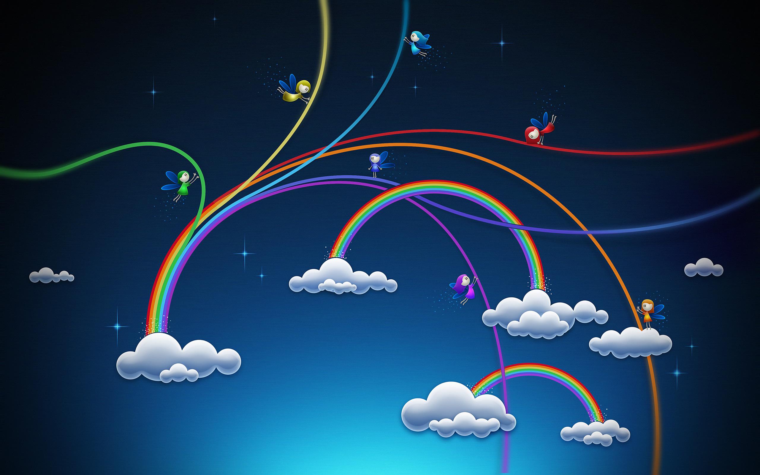 облака, небо, мосты в форме радуги, радуга, скачать фото, обои для рабочего стола