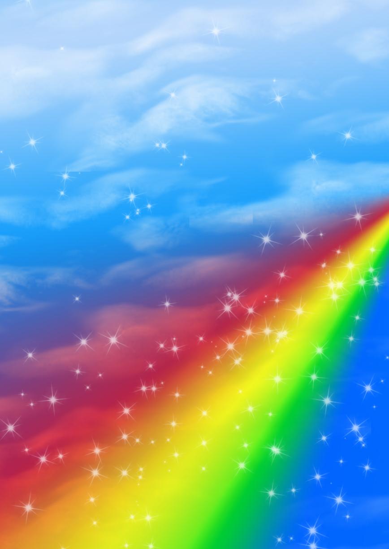 радуга, синее чистое небо, перистые облака, скачать фото, rainbow wallpaper