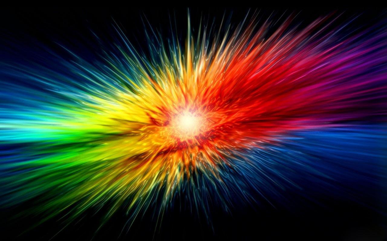 радуга, радужный взрыв на фоне черного, скачать фото, обои для рабочего стола