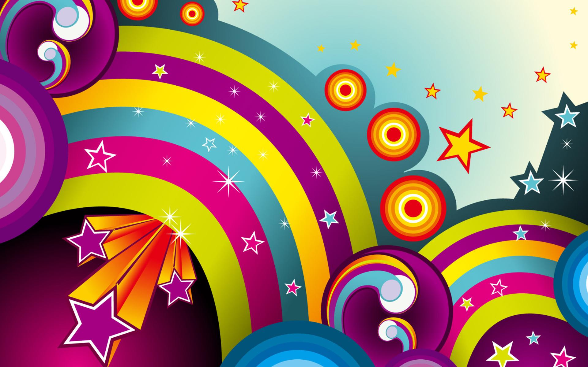 радуга и звездочки на фоне неба, скачать фото, обои для рабочего стола, rainbow wallpapers