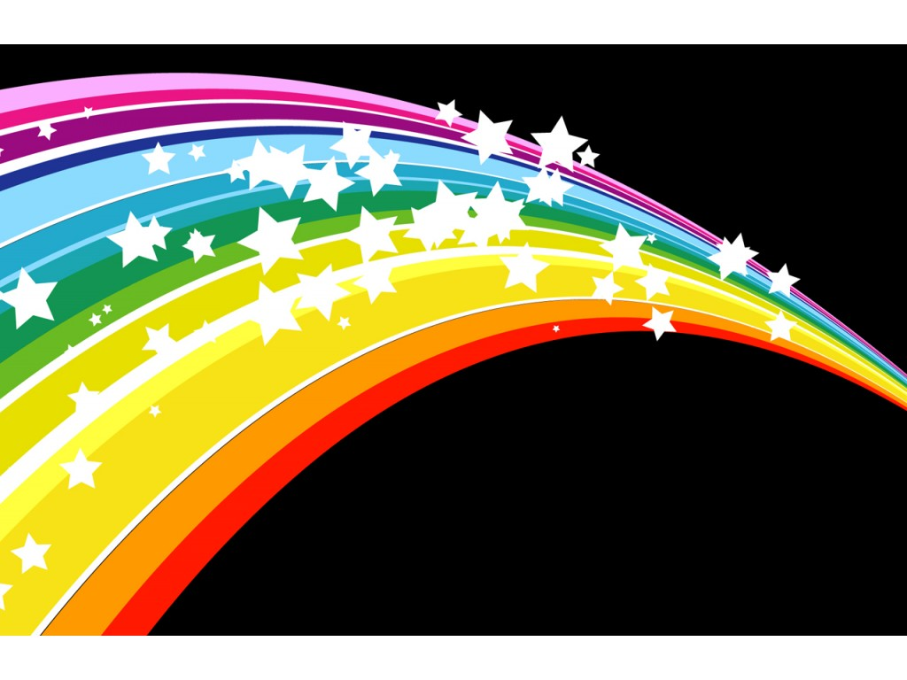 радуга на черном фоне со звездочками, скачать фото, обои для рабочего стола