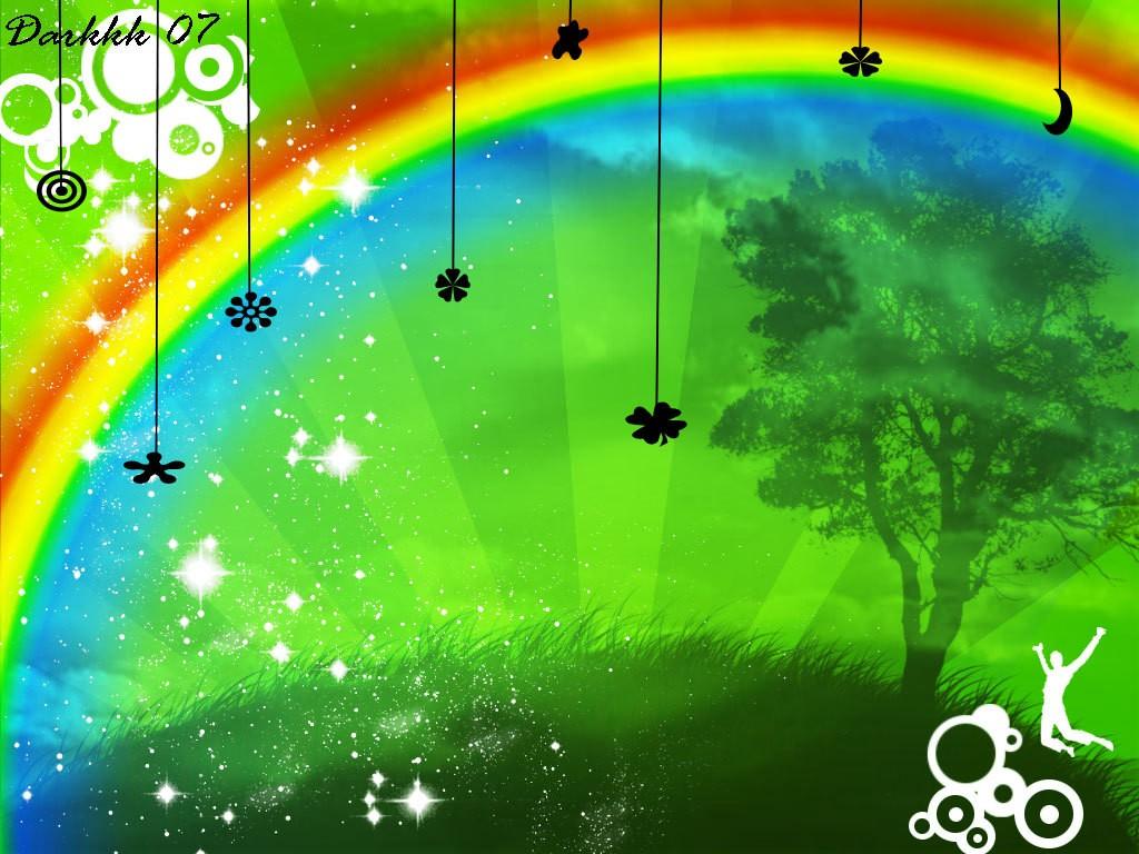радуга на зеленом фоне, обои для рабочего стола, скачать бесплатно, rainbow wallpapers