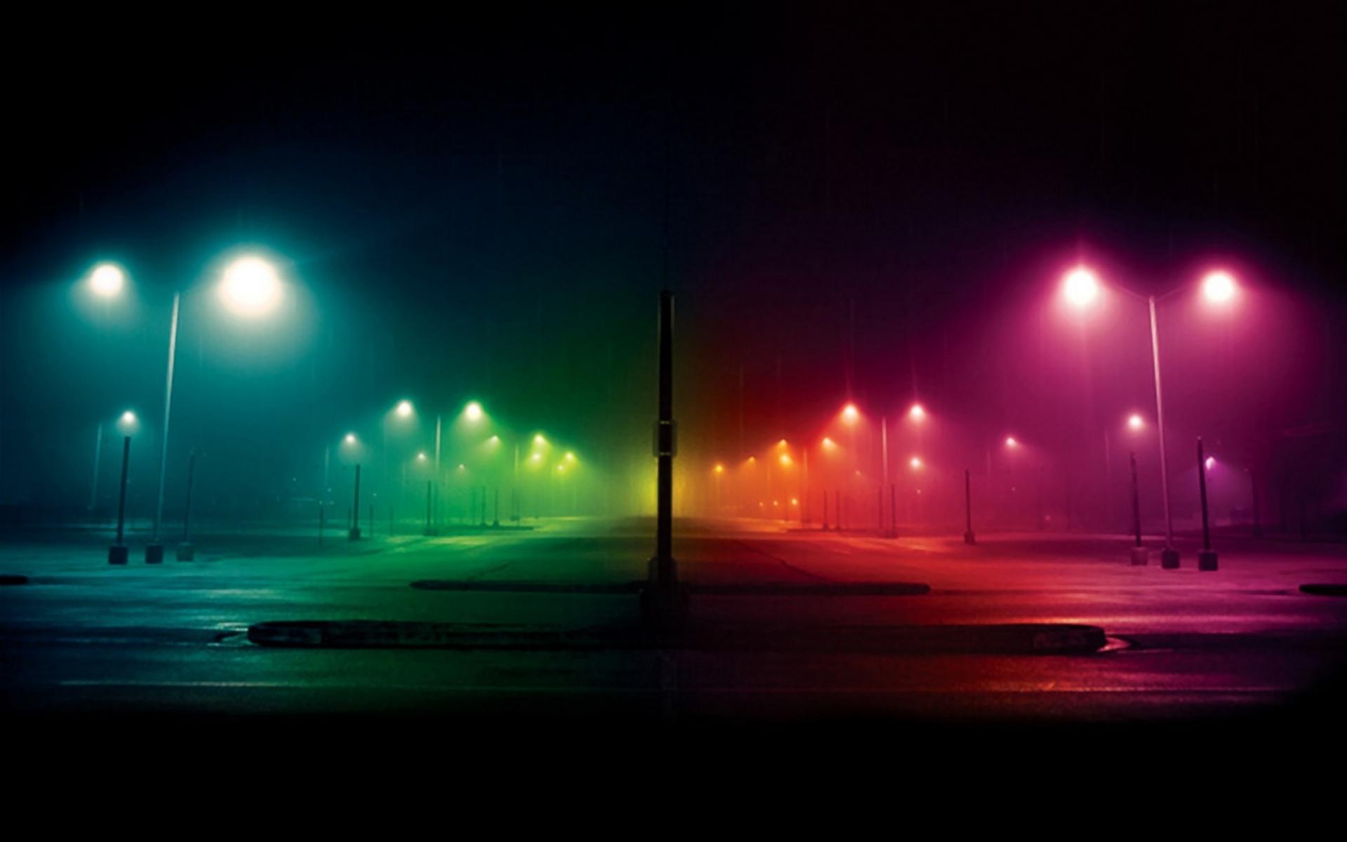 ночь, свет, фонари, все цвета радуги, скачать фото