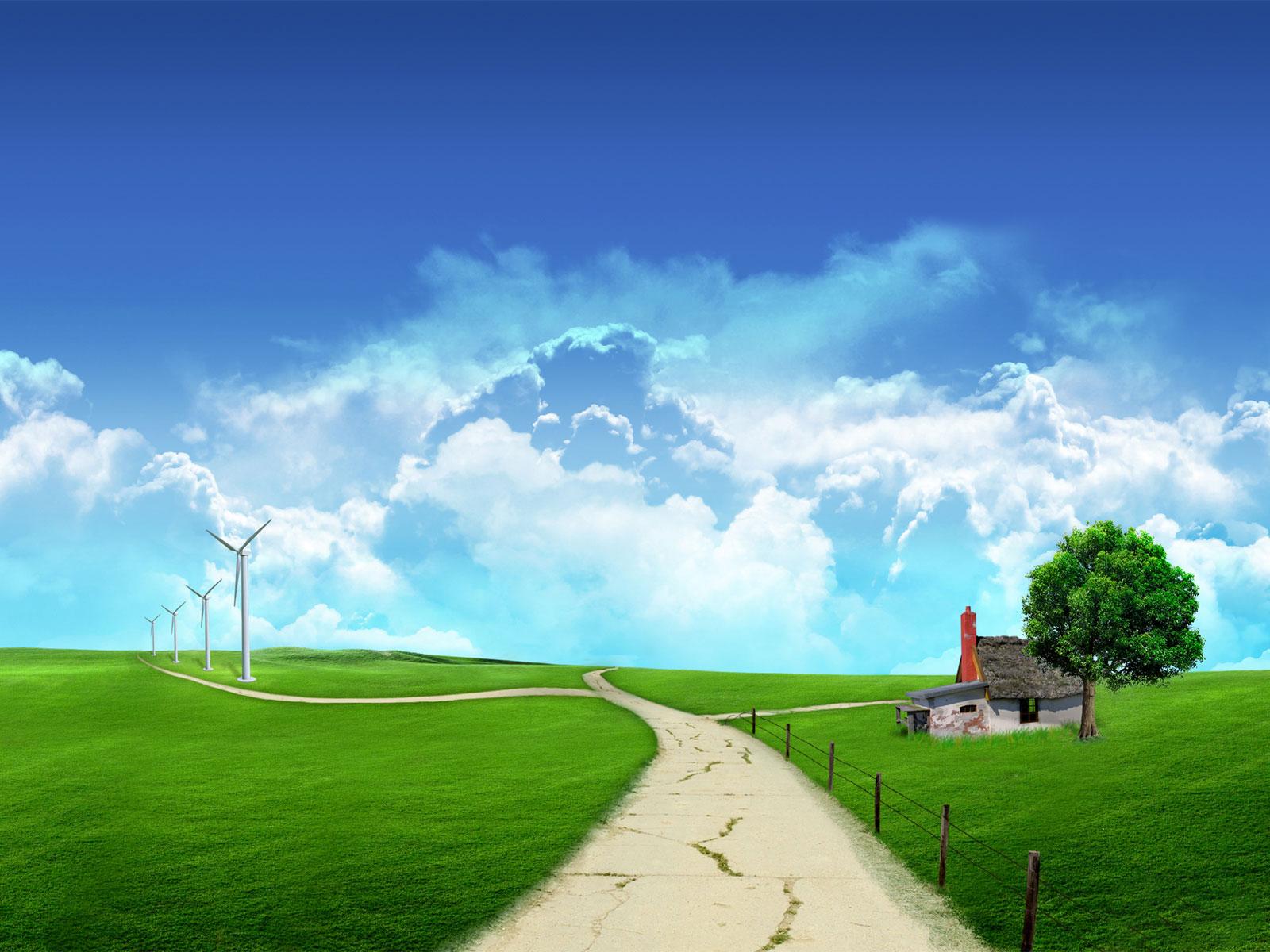 сельская дорога, луг, дерево, домик, скачать фото, обои на рабочий стол