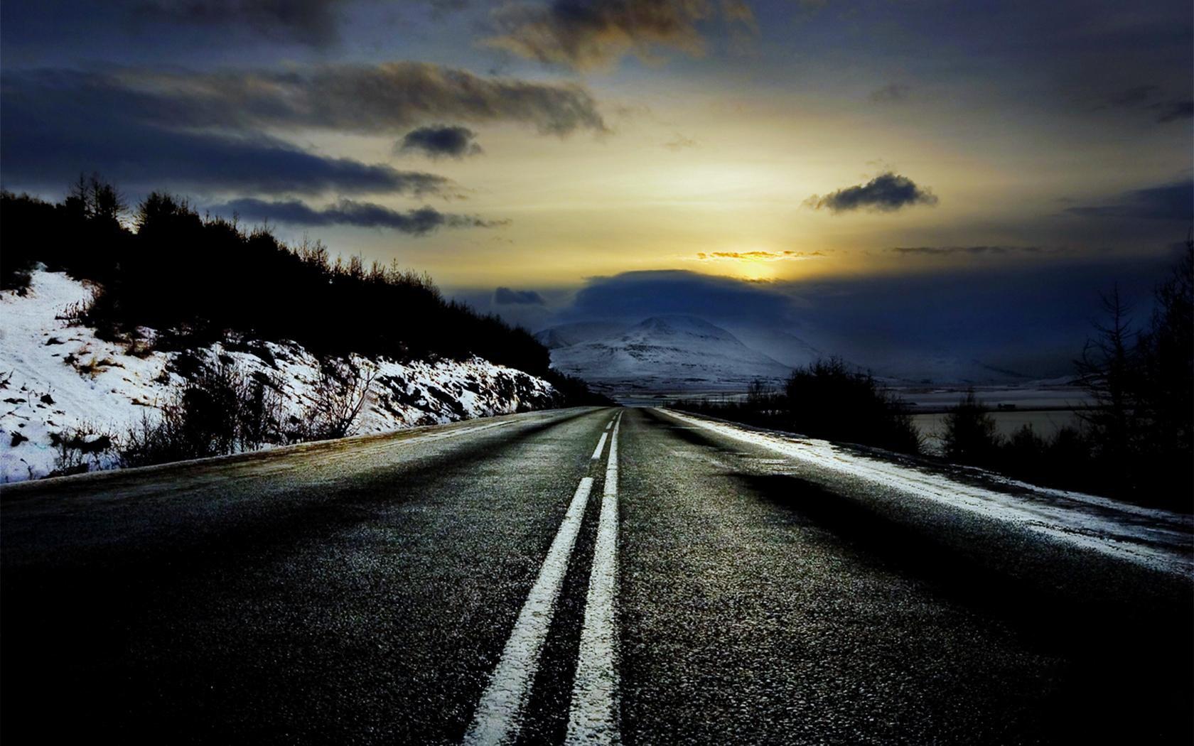 зимняя дорога, сумерки, скачать фото, обои для рабочего стола