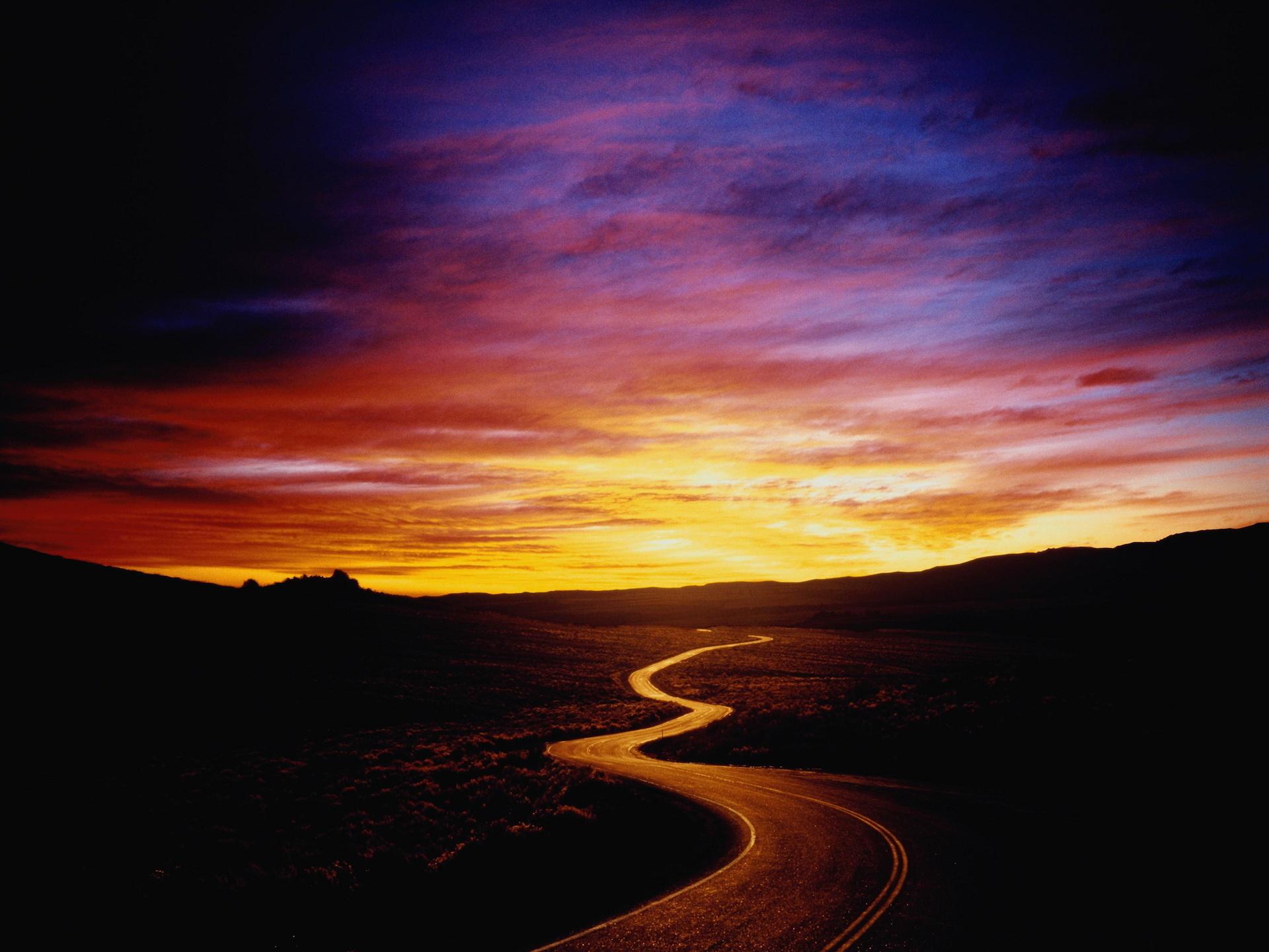 извилистая дорога, шоссе, скачать фото, закат солнца, обои для рабочего стола