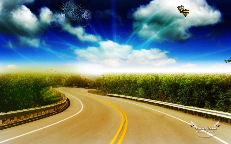 дорога, поворот, асфальт, скачать фото, трава, синее небо