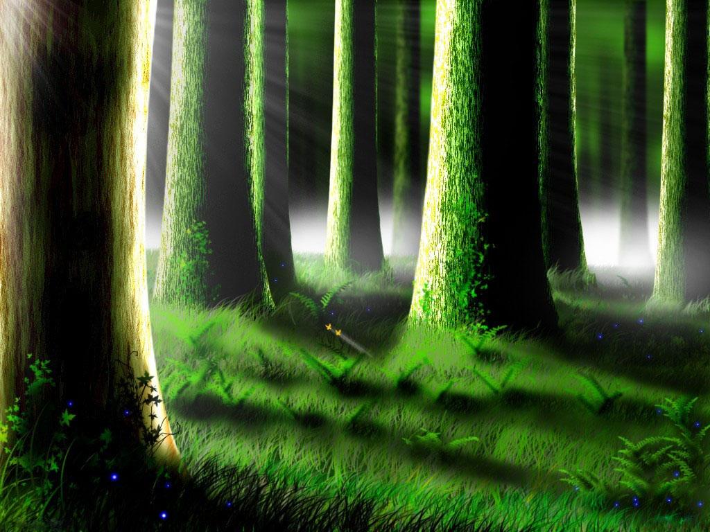 лес, ночь, стволы деревьев, скачать фото