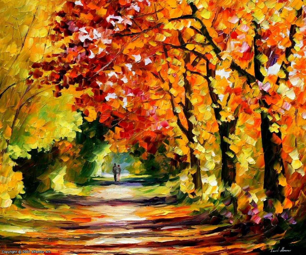 осень, аллея, осенние листья, скачать фото