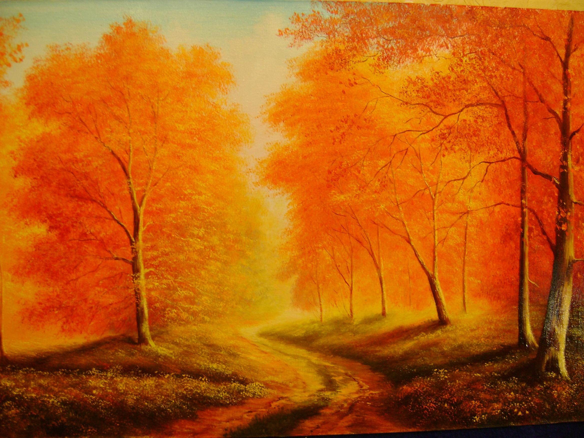 рисунок осень, скачать фото, осенние деревья, обои на рабочий стол