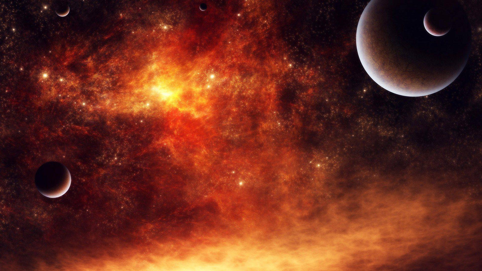 огонь в космосе, обои для рабочего стола, планеты, солнце