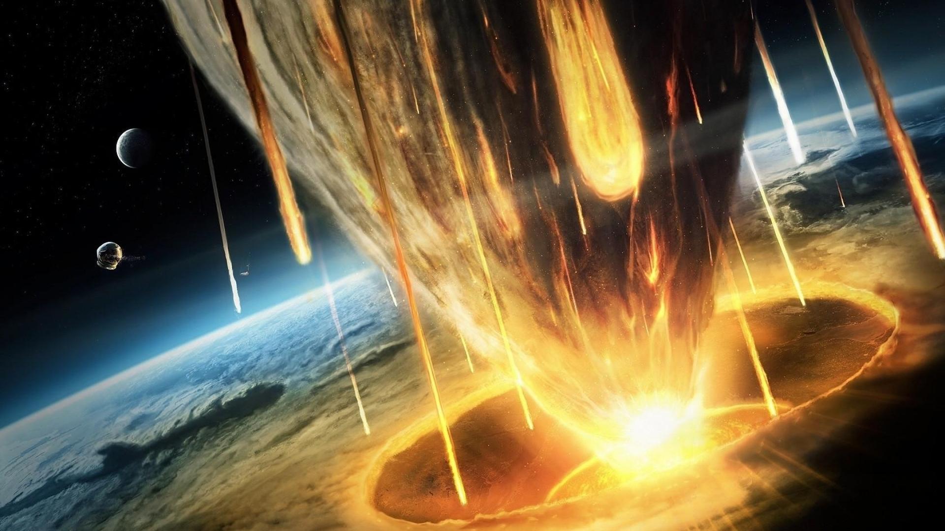 метеор врезается в землю, скачать фото, обои для рабочего стола, космос