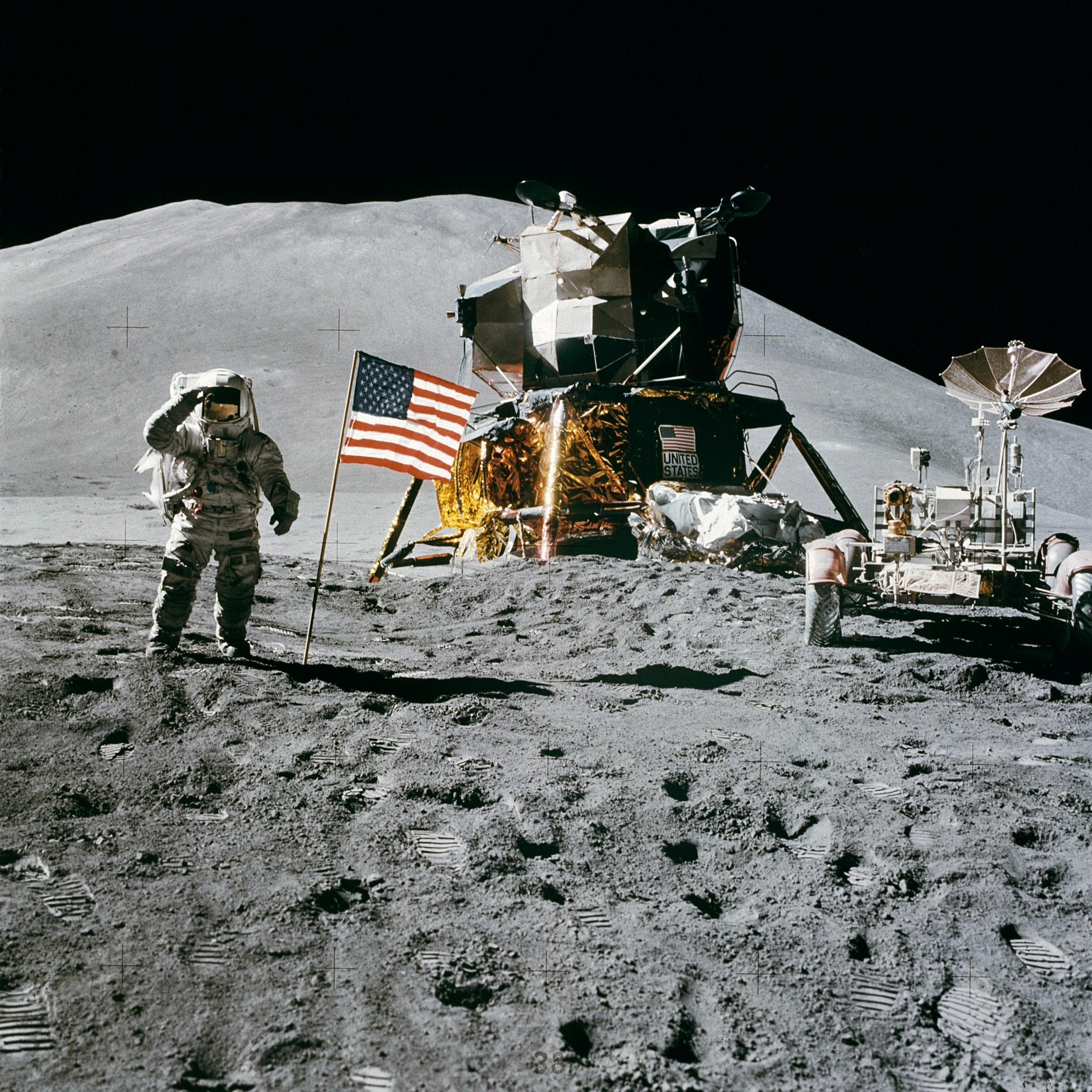 Американцы на луне, луна, обои для рабочего стола, космос, космический корабль