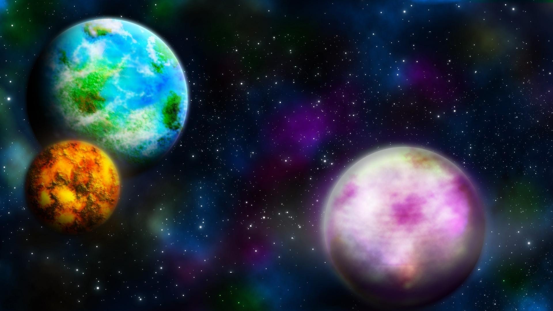 космос, разноцветный космос, скачать обои для рабочего стола