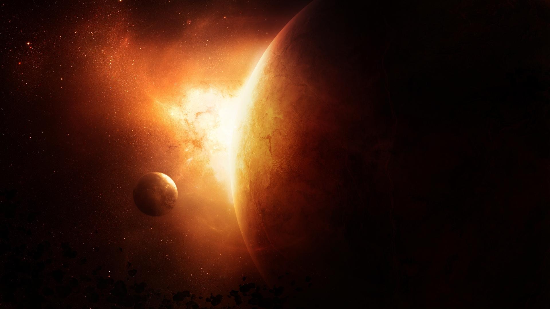 солнце, взрыв, свет, планета, обои для рабочего стола
